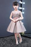 Vestido niña ceremonia Falta Satén Otoño Joya Sin mangas Corte-A