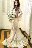 Vestido de novia largo Capa de encaje Corte Sirena Espalda con ojo de cerradura