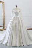 Vestido de novia Formal Capa de encaje Cordón Natural Satén Apliques