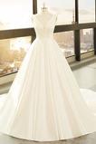 Vestido de novia primavera Baja escote en V Corte-A Drapeado Satén Escote en V