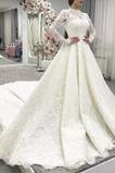 Vestido de novia Invierno Fuera de casa Cremallera Corte-A Encaje Camiseta