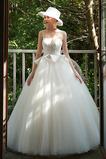 Vestido de novia Cordón Triángulo Invertido tul Natural Drapeado Verano