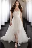 Vestido de novia Natural Asimètrico Sin mangas Verano Cremallera Escote Corazón