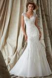 Vestido de novia Natural Escote en V Encaje Corte Sirena Iglesia Manga corta