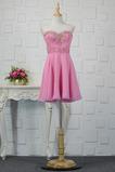 Vestido de cóctel Romántico Drapeado Corte-A Gasa Sin mangas Escote Corazón