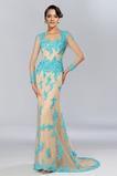 Vestido de noche Falta Natural Corte Sirena Encaje Mangas Illusion Abalorio
