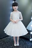 Vestido niña ceremonia Manga corta Mangas Illusion Corte-A Natural Hasta la Rodilla