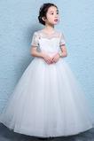 Vestido niña ceremonia tul Hasta el Tobillo Formal Apliques Natural Verano