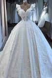 Vestido de novia Natural Corte-A Baja escote en V Cordón Otoño Escote en V