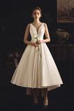 Vestido de novia Elegante Satén Triángulo Invertido Asimètrico Drapeado