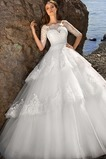 Vestido de novia Fajas Mangas Illusion La mitad de manga Alto cubierto