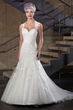 Vestido de novia Corte Sirena Apliques Sin mangas Escote Corazón Satén