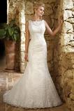 Vestido de novia Natural largo Cremallera Apliques Sin mangas Barco