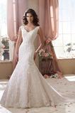 Vestido de novia primavera Natural Escote en V Espalda medio descubierto