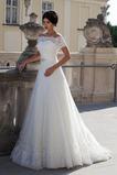 Vestido de novia Natural Encaje Escote con Hombros caídos Con Chaqueta