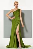 Vestido de noche Satén Elástico Espalda medio descubierto Blusa plisada