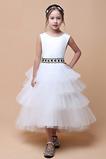 Vestido niña ceremonia Escalonado primavera Cinturón de cuentas Hasta la Tibia