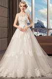 Vestido de novia Abalorio Falta Natural Sin mangas Capa de encaje Barco