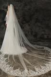 Velo de novia de velo de cola grande con velo de aplique de encaje de peine para el cabello