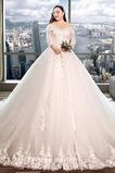 Vestido de novia Capa de encaje Apliques Triángulo Invertido largo Natural