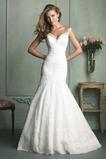 Vestido de novia Encaje Cremallera largo Escote con Hombros caídos Corte Sirena