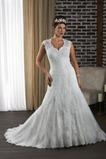 Vestido de novia Encaje Cordón Natural Escote en V Abalorio Corte-A