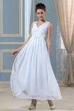 Vestido de novia Escote en V Hasta el Tobillo primavera Blusa plisada