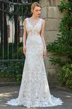 Vestido de novia Elegante Pura espalda Drapeado Sin mangas Cola Capilla