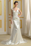 Vestido de novia Playa Encaje Corte Recto Tallas pequeñas Natural largo