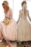 Vestido de novia Mangas Illusion Falta Baja escote en V Corte-A Cremallera