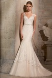 Vestido de novia Corte Sirena Encaje Escote en V Cristal Cremallera