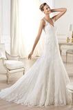 Vestido de novia tul Corte-A Escote en V Espalda medio descubierto largo