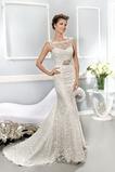 Vestido de novia Corte Sirena Cremallera Barco Natural Otoño Cola Capilla