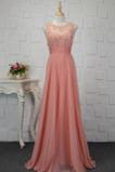 Vestido de dama de honor Corpiño Acentuado con Perla Gasa Natural Corte-A Capa de encaje