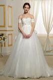 Vestido de novia Corte-A Corpiño Acentuado con Perla Manga corta Natural