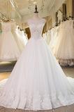 Vestido de novia Cola Catedral Sin mangas Cordón Barco Natural Encaje