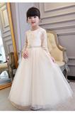 Vestido niña ceremonia Natural Otoño Arco Acentuado tul Formal Hasta el Tobillo
