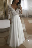 Vestido de novia Encaje Baja escote en V Cremallera Camiseta Hasta el suelo