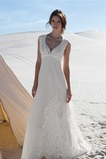 Vestido de novia Romántico Playa Sin mangas Verano Encaje Corte-A