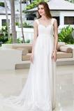 Vestido de novia Encaje Corte-A Apliques Imperio Cintura Cola Capilla