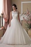 Vestido de novia largo Pura espalda Corte-A Cintura Baja Apliques Formal