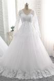 Vestido de novia Imperio Formal tul Imperio Cintura Otoño Mangas Illusion