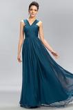 Vestido de dama de honor Hasta el suelo Gasa Natural Sencillo Cremallera Dobladillos