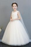 Vestido niña ceremonia Corte-A Cremallera Hasta el Tobillo Natural Apliques