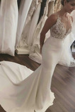 Vestido de novia Escote en V Sin mangas Satén Corte Sirena Capa de encaje