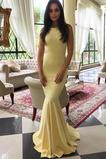 Vestido de fiesta Corte Sirena Sin mangas Elegante Joya Cola Barriba