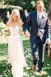 Vestido de novia Espalda Descubierta Playa Escote con Hombros caídos