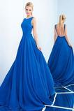 Vestido de fiesta primavera Elegante Corte-A Joya Natural Espalda Descubierta