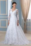 Vestido de novia Encaje largo Sala Satén Otoño Mangas Illusion