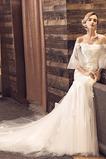 Vestido de novia Natural La mitad de manga Escote con Hombros caídos